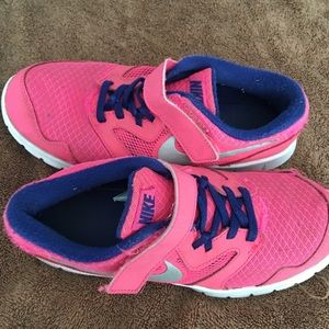 Pink nike sneakers with strap tennis shoes
